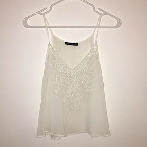 Brandy Melville sheer white floral cut out blouse